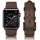 SWEES Compatible Apple Watch Band 42mm, Genuine Leather Vintage Strap Wristband Stainless Steel Buckle Compatible iWatch Apple Watch Series 3, Series 2, Series 1, Sports & Edition Men, Retro Brown