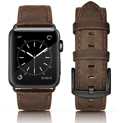 SWEES Compatible Apple Watch Band 42mm, Genuine Leather iWatch Vintage Strap Wristband Stainless Steel Buckle Compatible Apple Watch Series 3, Series 2, Series 1, Sports & Edition Men, Retro Brown by SWEES