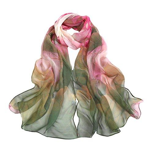 Sun Kea Wome's Long Scarf Ink Lotus Flower Feminine Wrap Shawl Georgette Sheer Scarves Go-To Scarves for Ladies(Green)