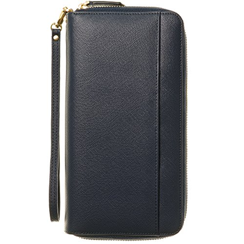 Travel Document Organizer & RFID Passport Wallet Case, Family Passport Holder Id (Navy Blue)