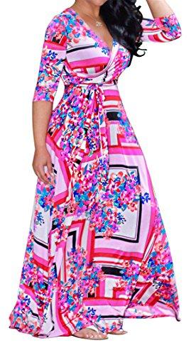 Allonly Femmes 3 4 Manches Sexy Profonde Wrap V Swing Imprimé Floral Plissé Rose Robe Maxi Longue 4