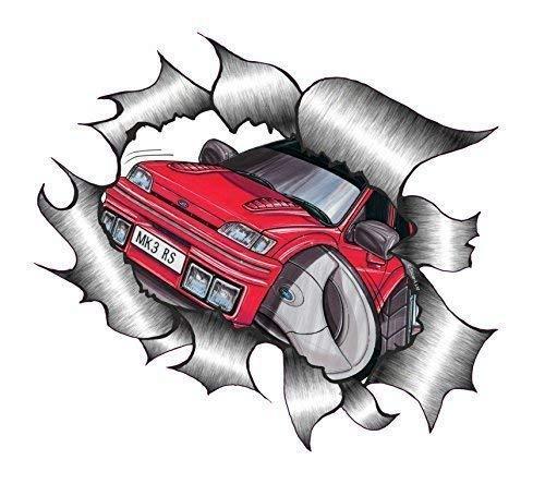 Sticar-it Ltd Rasgado Metálico Adhesivo Coche Koolart Diseñado para Retro Mk3 Ford Fiesta RS Turbo Adhesivo de Vinilo - Varios, A4 300x210mm Approx: ...