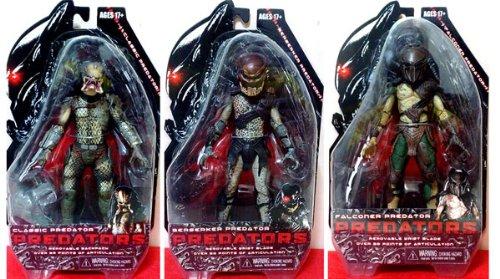 NECA Predators 2010 Movie Series 1 Set of 3 Action Figures Classic, Falconer Berserker