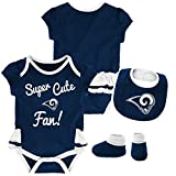 NFL by Outerstuff NFL Los Angeles Rams Newborn & Infant Mini Trifecta Bodysuit, Bib Bootie Set Dark Navy, 12 Months