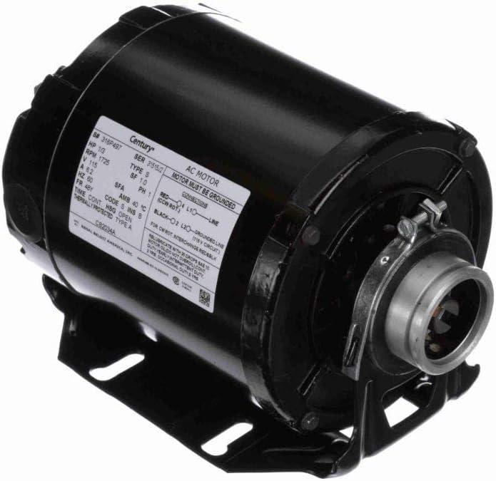 Century AO Smith CB2034A OEM Pump Motor, 1/3 HP, Split-Phase, 1725 RPM, 115V, 48Y Frame