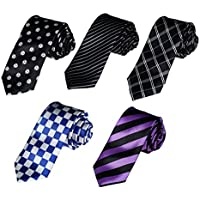 Dan Smith Multicolors Polyester Wedding Thin Tie - 5 Styles Available