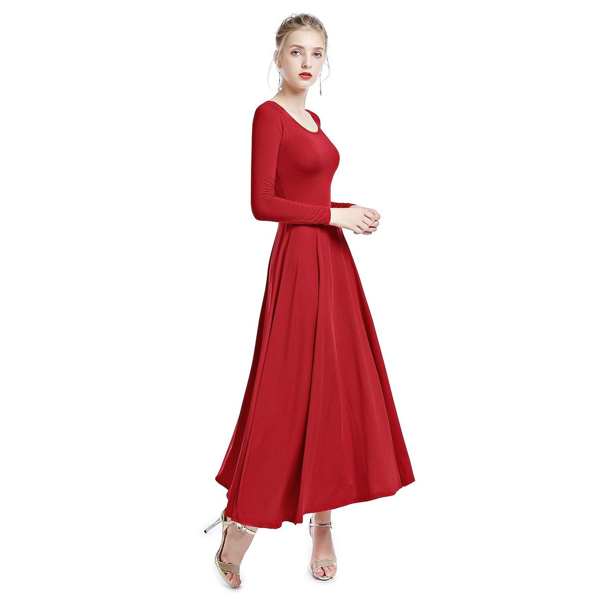 OBEEII Femme Robe de Danse /à Manches Longues Justaucorps de Gymnastique Ballet Classique Combinaison Bodysuit Liturgical Praise Dance Dress Costume