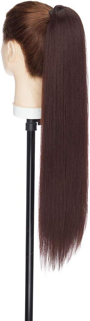 Extensiones de Cabello de Moño con Cordón de Cola de Caballo Recta Rizada Afro con dos Pinzas de Peine Postizo 55cm Marron oscuro