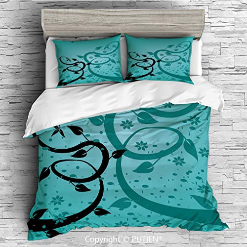 Flora Floral Comforter - KING Size Cute 3 Piece Duvet Cover Sets Bedding Set Collection [ Teal,An Abstract Floral Arrangement Nature Winding Tendrils Design Flora Drawing Style Decorative,Turquoise Black ] Comforter Cover Set