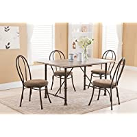 Kings Brand 5 Pc. Set Contemporary Rectangular Dining Room – Kitchen Table & 4 Chairs