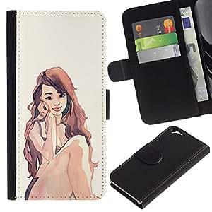 JackGot ( Acuarela Peli Roja ) Apple (4.7 inches!!!) iPhone 6 / 6S la tarjeta de Crédito Slots PU Funda de cuero Monedero caso cubierta de piel