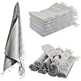 >Set Of 6< Turkish Hamam Peshtemal Cotton Bath Face Towel Spa Bath >Silver Grey<