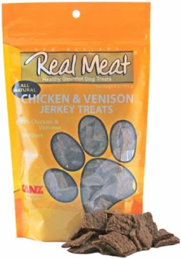 The Real Meat Company 828005 Dog Jerky Chicken/Venison Treat, 4-Ounce