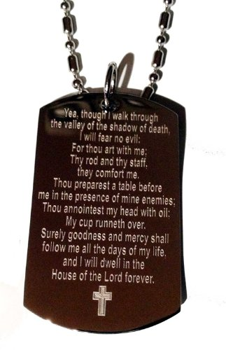 """Psalm 23:4""""I Walk Throught The Valley of The Shadow of Death Christ Christian Logo Symbols - Military Dog Tag Luggage Tag Key Chain Keychain Metal Chain Necklace"""