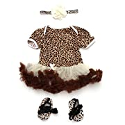 TANZKY Baby Girls Dress 3PCs Set with Headband Shoes Leopard Romper Outfit