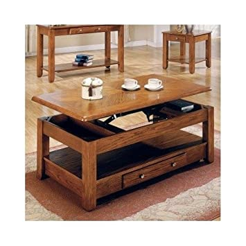 LIFT TOP COFFEE TABLE OAK WITH STORAGE DRAWERS AND BOTTOM SHELF   Bring  Style And Function