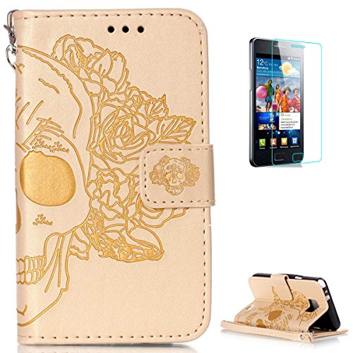 Samsung Galaxy S2 i9100 Leather Wallet Case [with Free Screen Protector],KaseHom Skull Rose Flower Embossed Folio Magnetic Flip Stand PU Leather Protective Case Cover Skin Shell,Gold #1 (Princess Case Galaxy Samsung S2)