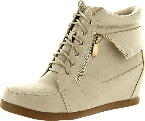 TOP Moda Womens Peter-30 Lace Up High Top Hidden Wedge Sneaker Shoes,Beige,8