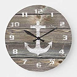 Authentic Looking Wood Rustic Anchor Nautical Wall Clocks Large Decorative Silent Non-Ticking Wood Clock for Women 16 Inches