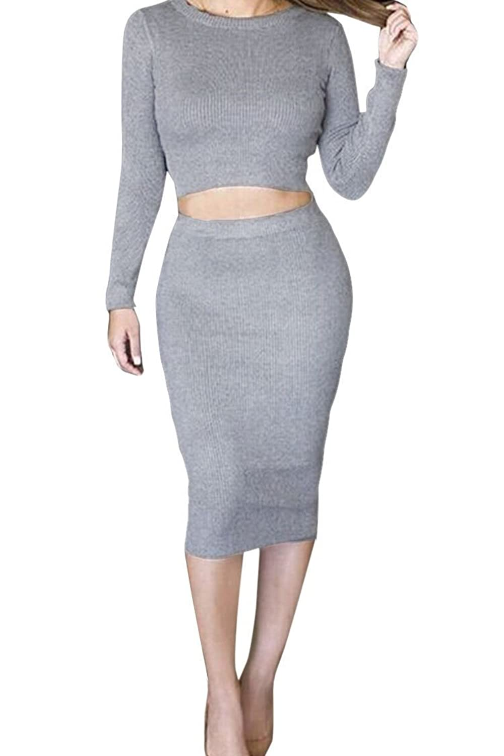 Haogo Womens Sexy Crop Top Midi Skirt 2 Pieces Bodycon Dress