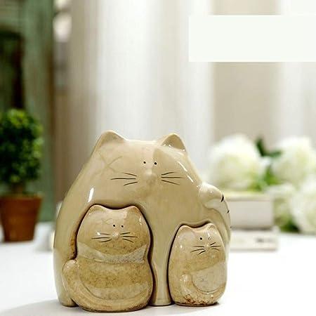 GYJZZW Estatua Cerámica Adornos Figurita De Porcelana Creativa para Gatos Y Bebés Figura De Decoración Abstracta para El Hogar Cerámica Gatito Regalo En Miniatura Accesorios para Adornos Artesanales,: Amazon.es: Hogar