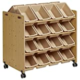 ECR4Kids Double-Sided Mobile Storage Organizer with 32 Bins, Sand with Sand Bins