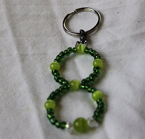 Dark Green Glass and Apple Green 2 inch beaded Keychain