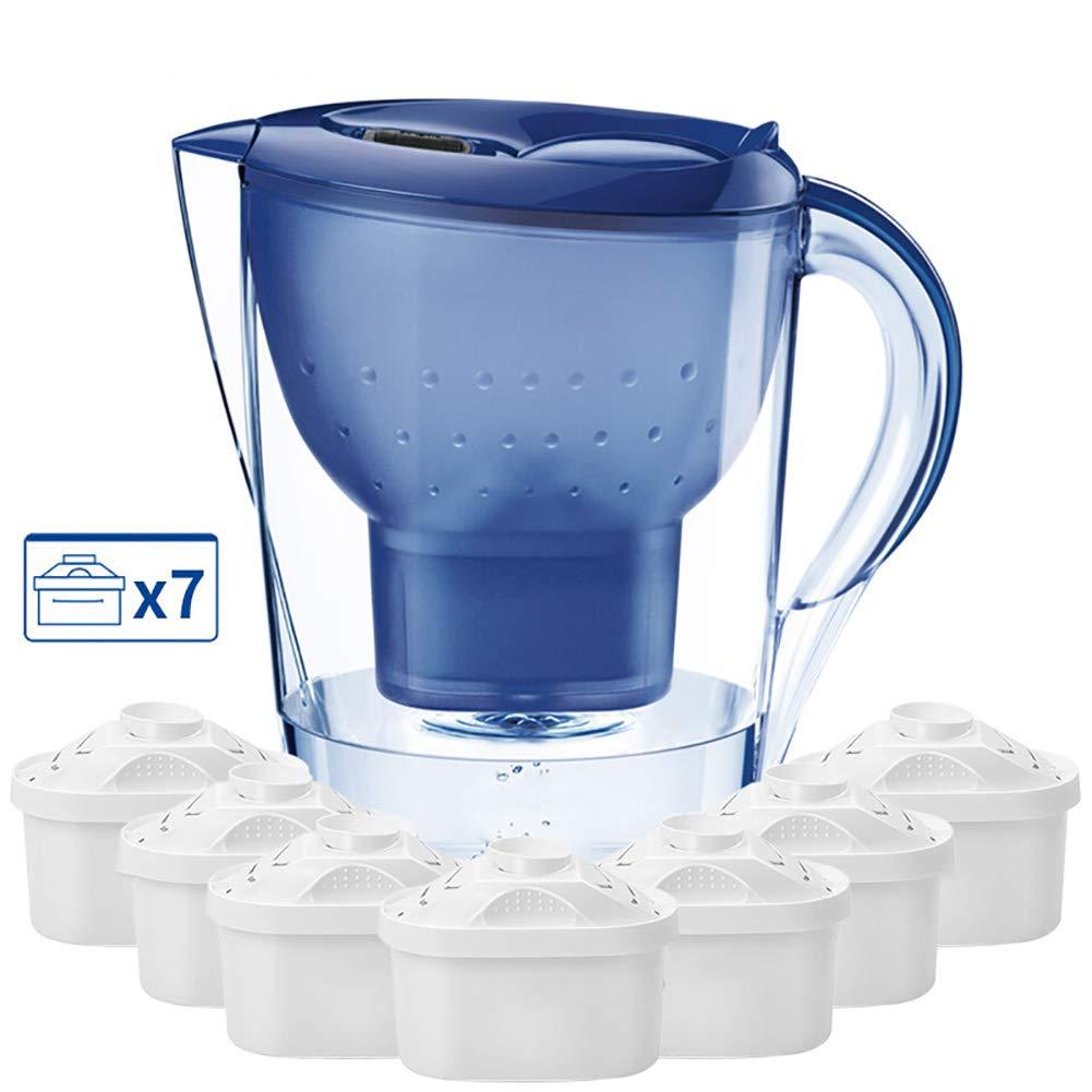 Moklo hyu Caraffa filtrante, 3,5 l con 7 cartucce per 14 Mesi, Blu Prezzi