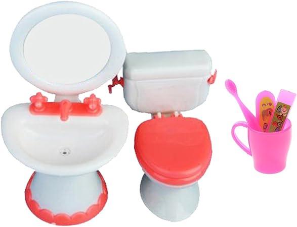 1pcs Plastic Mini Doll House Dollhouse Furniture Accessories Sink Toilet toys s`