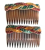 Rustic Braided Boho Turquoise Red Leather Hair Comb - Set of 2 Hair Accessory, Gift For Her, Gift Idea for Women with Long Hair