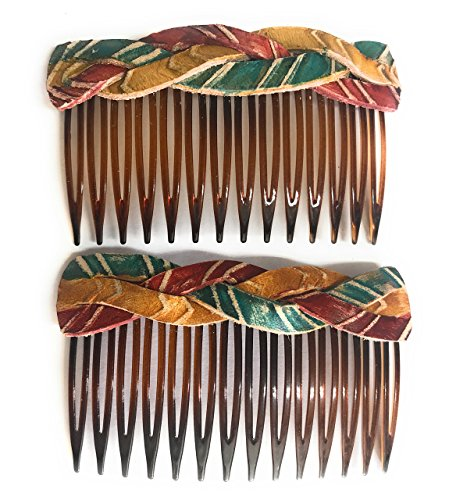 Rustic Braided Boho Turquoise Red Leather Hair Comb - Set of 2 Hair Accessory, Gift For Her, Gift Idea for Women with Long Hair by BANDANA GIRL