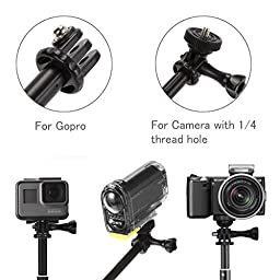 Luxebell Selfie Stick Telescopic Pole Pocket Purse Size with Phone Clip Holder for Gopro Hero 5, Session 5, Hero 4/3+/3/2 and Cellphone 6.6\