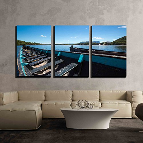 vas Wall Art - Blue Wooden Boats in Front of Hacha Falls in the Lagoon - Modern Home Decor Stretched and Framed Ready to Hang - 16