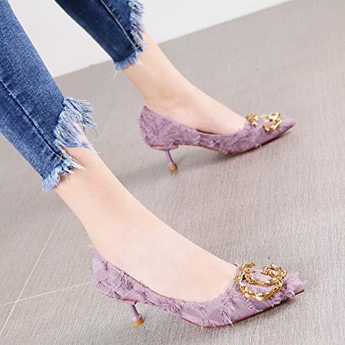 Zapatos Metal Zapatos Temperamento Violeta Corte Púrpura Elegante La Moda Puntiagudos De Hrcxue 36 Tacón Estilete Rhinestone Hebilla 6xa8nwRwP