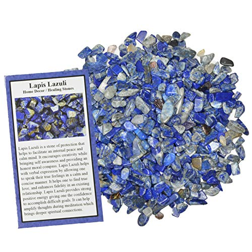 Digging Dolls: 5 lbs of Tumbled Lapis Lazuli Chip Stones - Polished Rocks for Crafts, Art, Vase Filler, Decoration, Reiki, Crystal Jewelry Making and More!