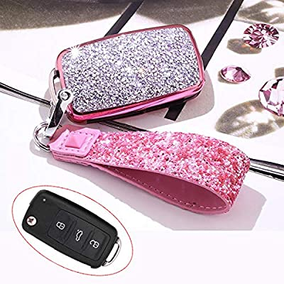 Royalfox(TM) 3 Buttons 3D Bling flip Folding Remote Key Fob case Cover for VW Volkswagen Jetta GTI Passat Golf Tiguan Touareg Beetle Multivan Sagitar Passat Accessories,with Keychain (Pink)