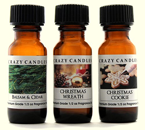 Crazy Candles 3 Bottles Set 1 Balsam & Cedar, 1 Christmas Wreath, 1 Christmas Cookie 1/2 Fl Oz Each (15ml) Premium Grade Scented Fragrance Oils - Herbal Bath Juniper Spruce