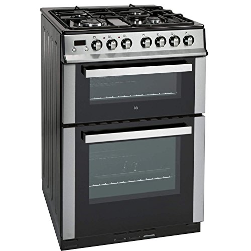 iQ 60cm Double Oven Dual Fuel Cooker - Stainless Steel
