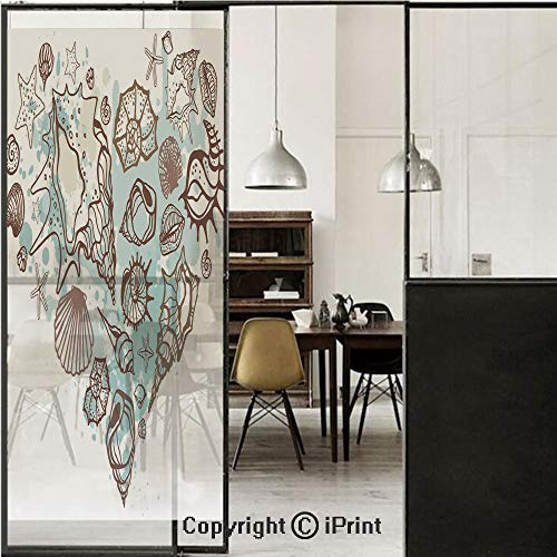 Nautical 3D Decorative Film Privacy Window Film No Glue,Frosted Film Decorative,Hand Drawn Seashells Scallop Starfish Whelk Ocean Underwater Life Theme,for Home&Office,23.6x70.8Inch Brown Warm Taupe T
