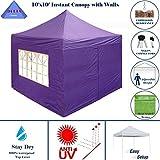 DELTA Canopies -10'x10′ Pop up 4 Wall Canopy Party Tent Gazebo EZ Purple – E