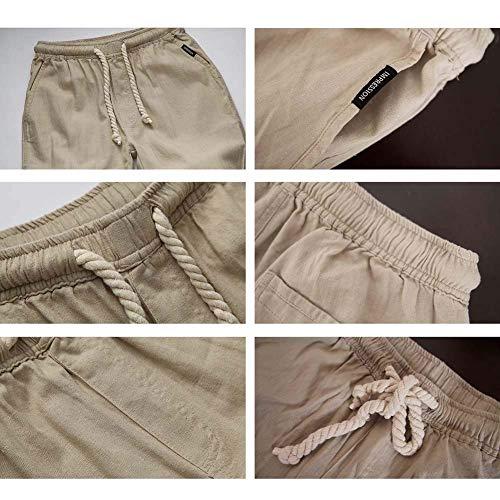 Pantalon Vêtements Mode Poches Hommes Hx De Avec Beige Latérales Confortables Tailles Décontracté Linge Longues rqOEZrB
