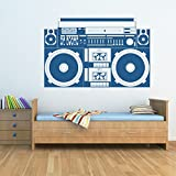 azutura Retro Boom Box Wall Sticker Hi-Fi Music Wall Decal Kids Bedroom Home Decor available in 5 Sizes and 25 Colours Medium Basalt Grey