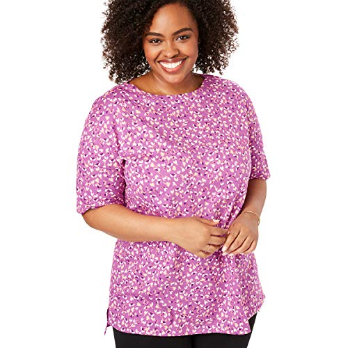 Woman Within Women's Plus Size Perfect Printed Boatneck Tunic - Rose Bud Leaf Confetti, L ()