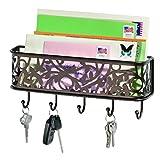 InterDesign 90041 Vine Mail, Letter Holder, Key Rack Organizer for Entryway, Kitchen - Wall Mount, Bronze