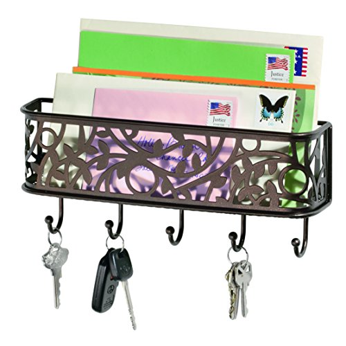 InterDesign Vine Mail Holder and Key Rack – Wall Mounted Letter Organizer and 5 Key Hooks, Bronze]()