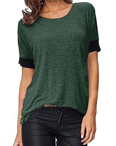 Auxo Mujeres Blusas Básica Camiseta de Manga Corta T Shirt Ocasional Cuello Redondo Tops Verde