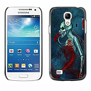 rígido protector delgado Shell Prima Delgada Casa Carcasa Funda Case Bandera Cover Armor para Samsung Galaxy S4 Mini i9190 MINI VERSION! /Blood Death Grim Blue Skull Skeleton/ STRONG