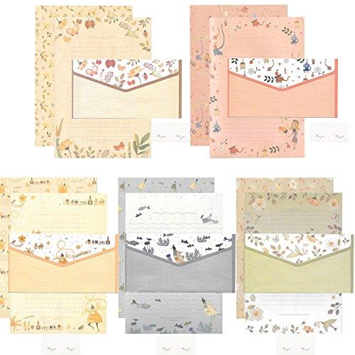 20 Pcs Lined Kawaii Cartoon Animal Writing Stationery with 10 Pcs Envelopes and 10 seal stickers Set for Writing Letters Cute Japanese Stationery Writing Paper by (Cute Japanese Stationery)