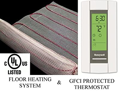 100 Sqft Warming Systems 120 V Electric Tile Radiant Floor Heating Mat with GFCI Protected Programmable Thermostat