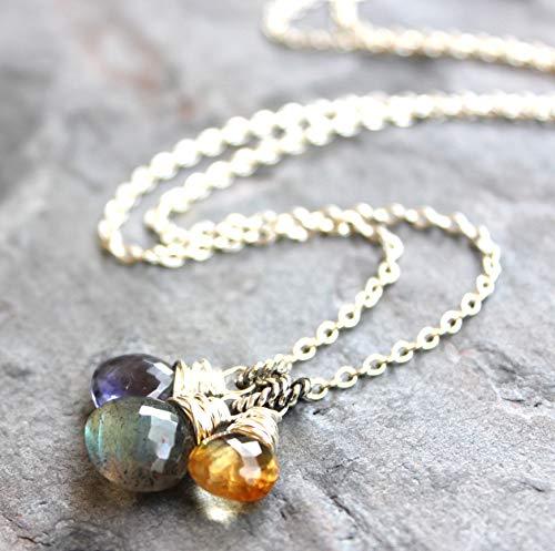 Trio Gemstone Pendant Necklace Labradorite Iolite Citrine Sterling Silver Blue Gray 18 Inch